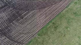 Aerial view flyover agriculture fields and farmland in Illinois corn belt - Midwest America stock video footage