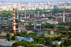Aerial view fo industrial area and sleeping quarte. Rs of Moscow city, Russia Royalty Free Stock Images