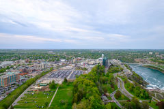 Aerial View fo the Niagara Falls city. From the Canadian side stock image