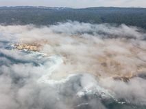 Aerial View of Fog and California Coast Stock Image