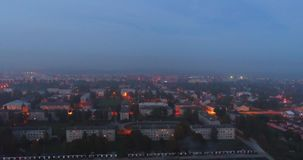 Dusk city night skyline streets aerial view. stock video footage