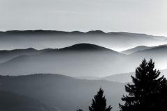 Aerial view of foggy mountains relief Stock Images