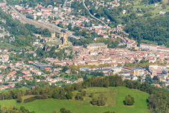 Aerial view of Foix and its castle in Midi-Pyrenees Royalty Free Stock Images