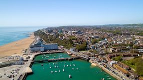 Aerial photography of Folkestone city, Kent, England. Aerial view of Folkestone city harbor, Kent, England royalty free stock photo