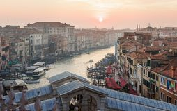 Aerial view from the Fondation dei Todeschi onto the Grand Canal Royalty Free Stock Photo