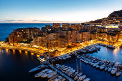 Aerial View on Fontvieille and Monaco Harbor Stock Photography