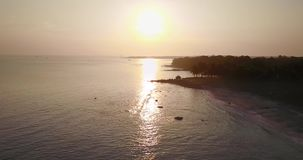 Aerial view of sunset at coast stock video footage