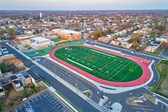 Aerial View of Football Field Royalty Free Stock Photo