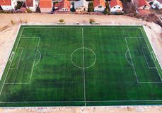 Aerial view of a football field. Aerial view of an empty football field stock photography