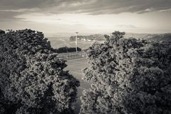 Aerial view of football field in piran and seascape, slovenia in black and white. Aerial view of football field in piran and seascape, slovenia royalty free stock photo