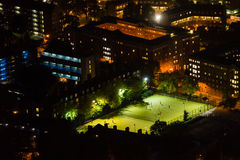 Aerial view of football pitch at night Stock Image