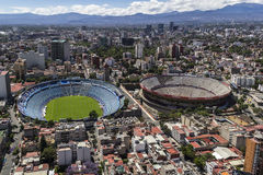 Aerial view of football stadium and bullfight arena in mexico ci Stock Photography
