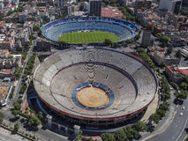 Aerial view of football stadium and bullfight arena in mexico ci Royalty Free Stock Photos