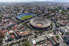 Aerial view of football stadium and bullfight arena in mexico ci. Estadio cruz azul and plaza de toros méxico stock photography