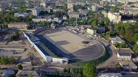Aerial view of the football stadium during construction.  stock video footage