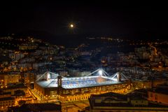Aerial view of the football stadium` Luigi Ferraris` of Genoa Genova by night, Italy. Aerial view of the football stadium` Luigi Ferraris` of Genoa Genova by Stock Photo