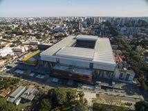 Aerial view of football stadium of the paranaense athletic club. Arena da baixada. Curitiba. Parana. July 2017. Aerial view of football stadium of the Royalty Free Stock Photo