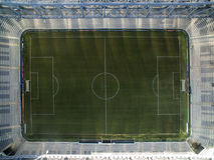 Aerial view of football stadium of the paranaense athletic club. Arena da baixada. Curitiba, Parana. July 2017. Aerial view of football stadium of the Stock Photo