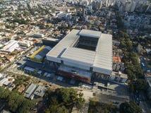 Aerial view of football stadium of the paranaense athletic club. Arena da baixada. Curitiba. Parana. July 2017. Aerial view of football stadium of the Stock Photo