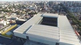 Aerial view of football stadium of the paranaense athletic club. Arena da baixada. Curitiba. Parana. July 2017. Aerial view of football stadium of the stock video footage