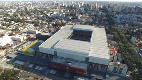 Aerial view of football stadium of the paranaense athletic club. Arena da baixada. Curitiba. Parana. July 2017. Aerial view of football stadium of the stock video