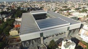 Aerial view of football stadium of the paranaense athletic club. Arena da baixada. Curitiba. Parana. July 2017. Aerial view of football stadium of the stock footage