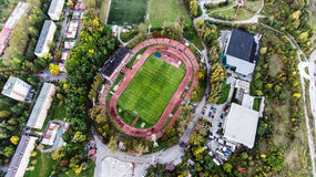 Aerial view of football stadium in town, Banska Bystrica, Slovak. Aerial view of football stadium, apartment buildings and streets in town, Banska Bystrica Royalty Free Stock Photography