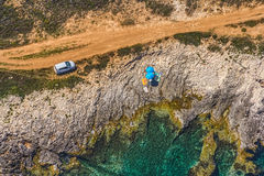 Istria - Croatia. Aerial view of footpath near coast made for tourist trekking and camping. Rocky beach in Istria, Croatia stock photography