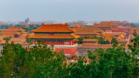 Aerial view of the Forbidden City in central Beijing, China under blue sky stock photo