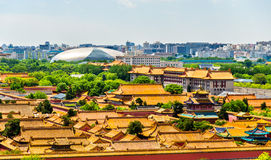 Aerial view on Forbidden City from Jingshan Park in Bejing. China Stock Photos