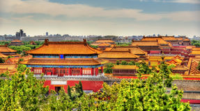 Aerial view on Forbidden City from Jingshan Park in Bejing. China Stock Photo