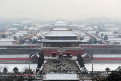 Aerial view of Forbidden city after snow Royalty Free Stock Images