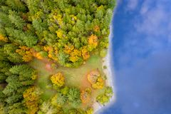 Aerial view of a forest in autumn colors stock photo