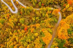 Aerial view of forest in autumn with road in the Epirus Zagorohoria, Greece. stock photography