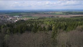 Aerial view of forest fields meadows countryside landscape,. Cloudy day stock video footage