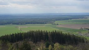 Aerial view of forest fields meadows countryside landscape,. Cloudy day stock footage