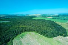 Aerial view of a Romanian forest royalty free stock photo