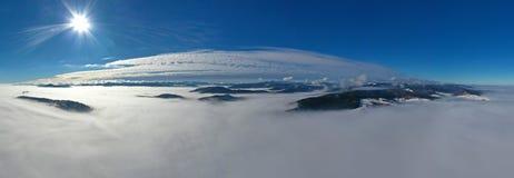 Aerial winter morning panorama stock photo