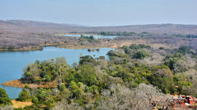 Aerial view of forest. Aerial view of Ranthambhore National Park from the fort, Rajashthan, India Royalty Free Stock Images