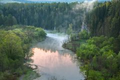 Aerial view of the forest river. Early morning royalty free stock photo