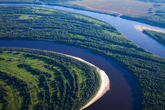 Aerial view forest river Royalty Free Stock Photography