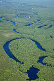 Aerial view forest river Royalty Free Stock Photos