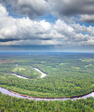 Top view of forest river Stock Image