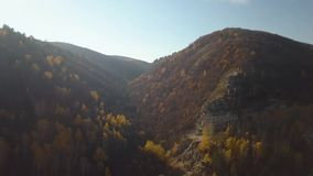 Forest rocks at fall. Aerial view of forest rocks at fall stock footage