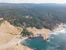 Aerial View of Forest and Rocky California Coastline Stock Photos