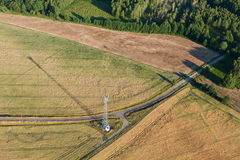 Aerial view of forests with harvest fields in summer Royalty Free Stock Photography