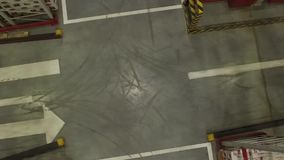 Aerial View of Fork Lift Truck. Driving in storage warehouse. Logistic, retail industry concept stock video