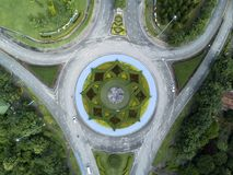 Aerial view formal garden in Royal Park Ratchaphruek at Chaingmai, Thailand. Stock Photos