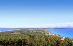 Aerial view Formentera Ibiza horizon Royalty Free Stock Photo