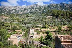 Aerial view of Fornalutx rooftops, Mallorca, Spain. Aerial view of Fornalutx outdoors in a mountain valley Stock Images